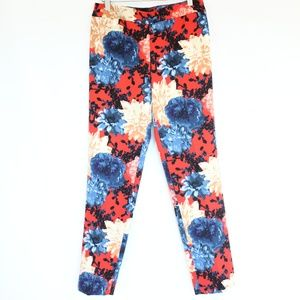 Talbots Floral Pants sz 4 Straight Leg Chatham red
